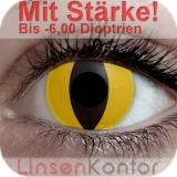 Farbige Kontaktlinsen mit Stärke Crazy Lenses Yellow Cat Cateye
